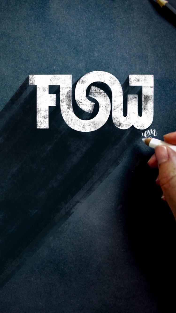 Flow lettering wallpaper by Emma mendel