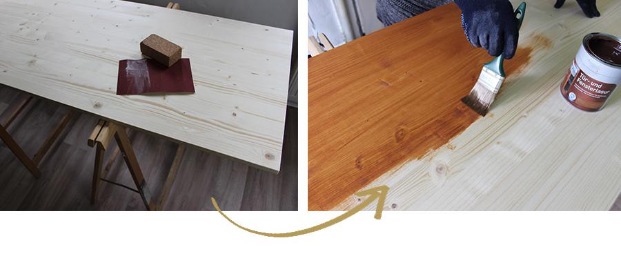 Tisch lasieren DiY Möbel Industrial Design