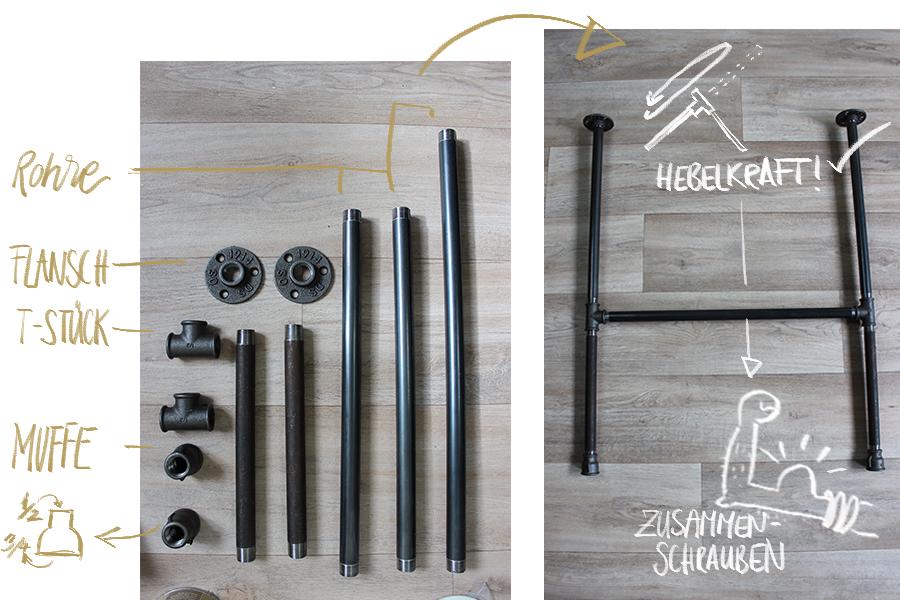 Temperguss Rohre Industrie Design Tisch Selber machen die