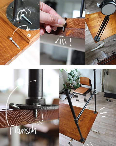 diy tisch industrial design einfach selber bauen anschrauben beine