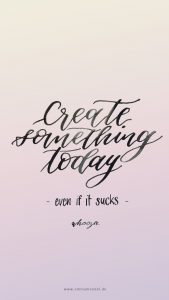 free freebie create something today quote positive