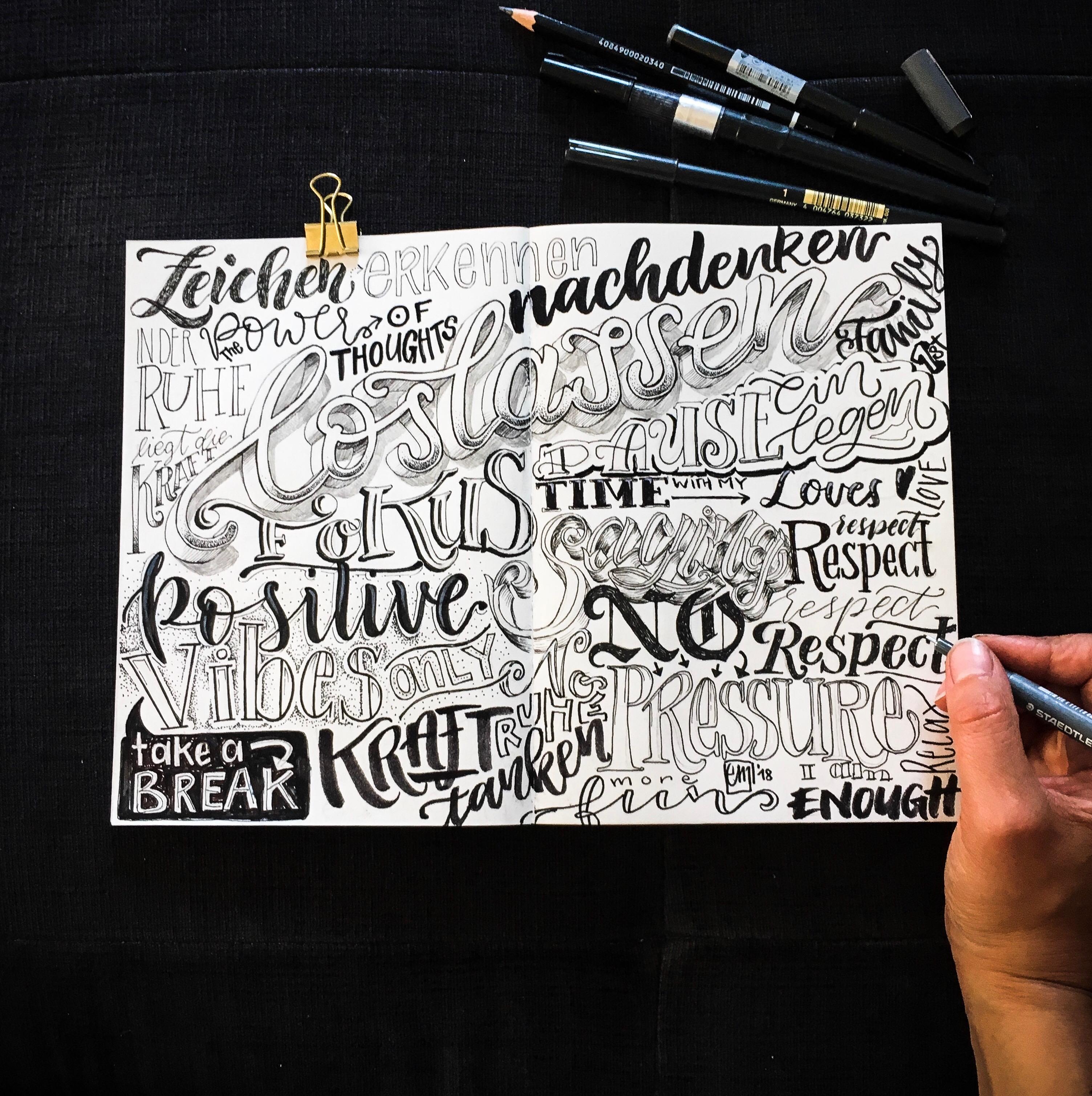 lettering skizzenbuch sketchbook Emma mendel