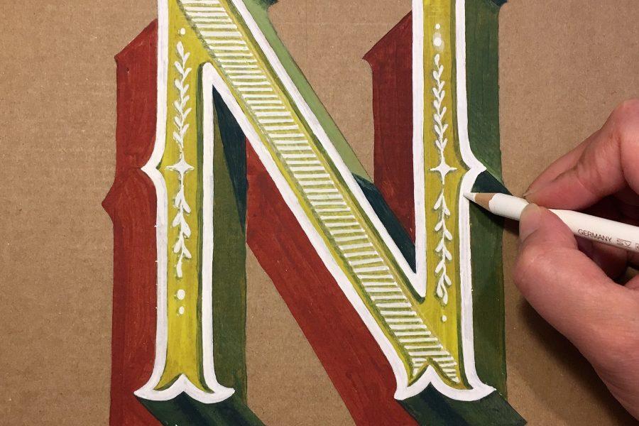 lettering handlettering N