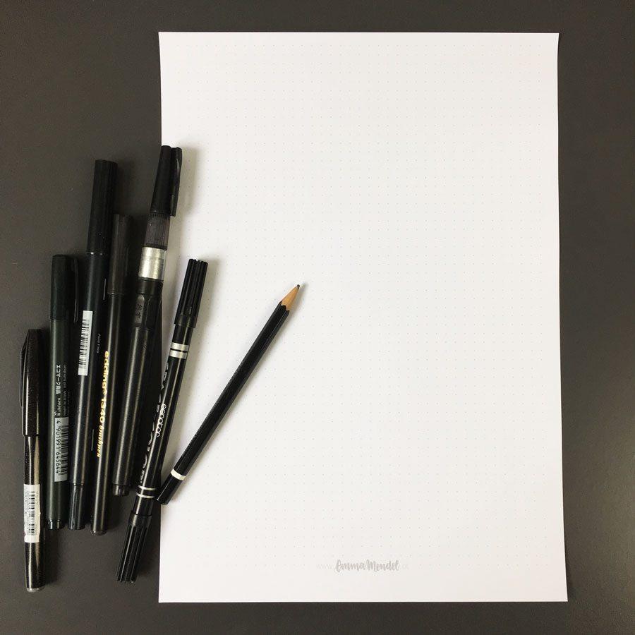 Linienblätter-lettering