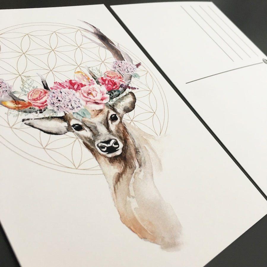 Aquarell Hirsch Blumen boho illustration Emma mendel
