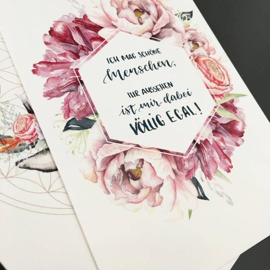 Aquarell Blumen lettering illustration
