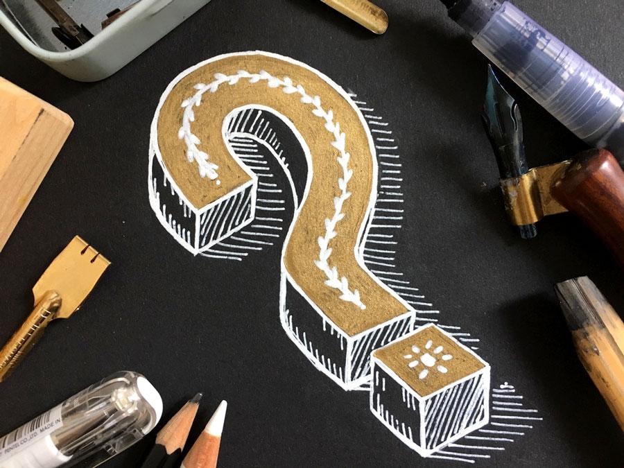 Fragezeichen handlettering lettering kalligrafie emma mendel illustration