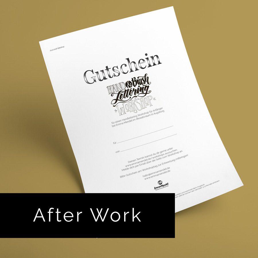 Handlettering gutschein Anfänger lettering workshop augsburg emma mendel