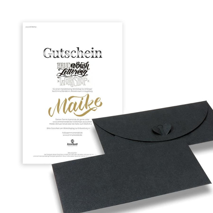 lettering gutschein workshop handlettering