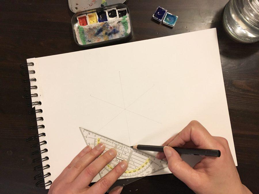 Aquarell hexigon Lettering gold blau Anleitung Tutorial Step by Step