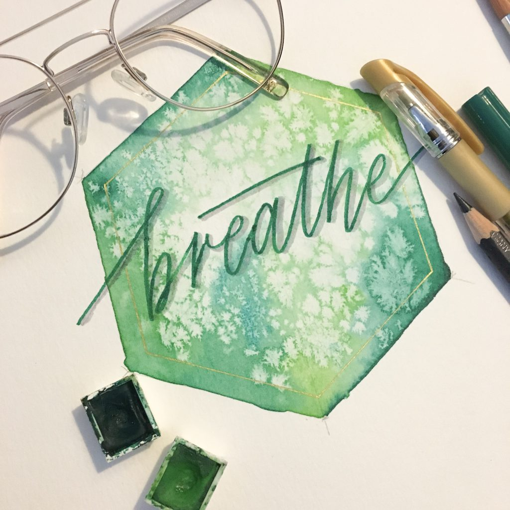 hexagon aquarell grün lettering breath