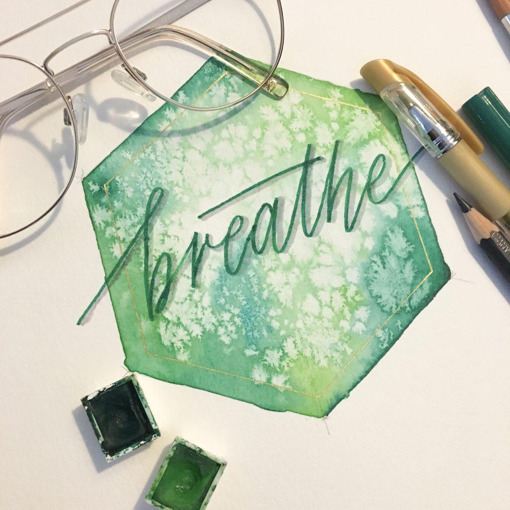 hexagon aquarell grün lettering breath