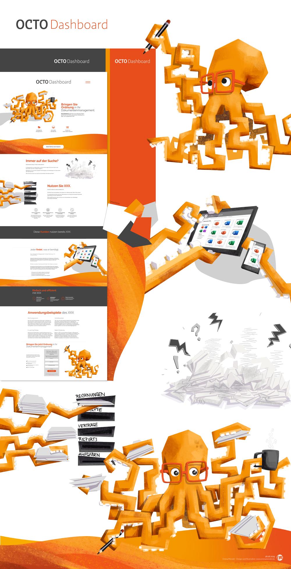 Produktdesign octo dashboard illustration oktopus orange landingpage