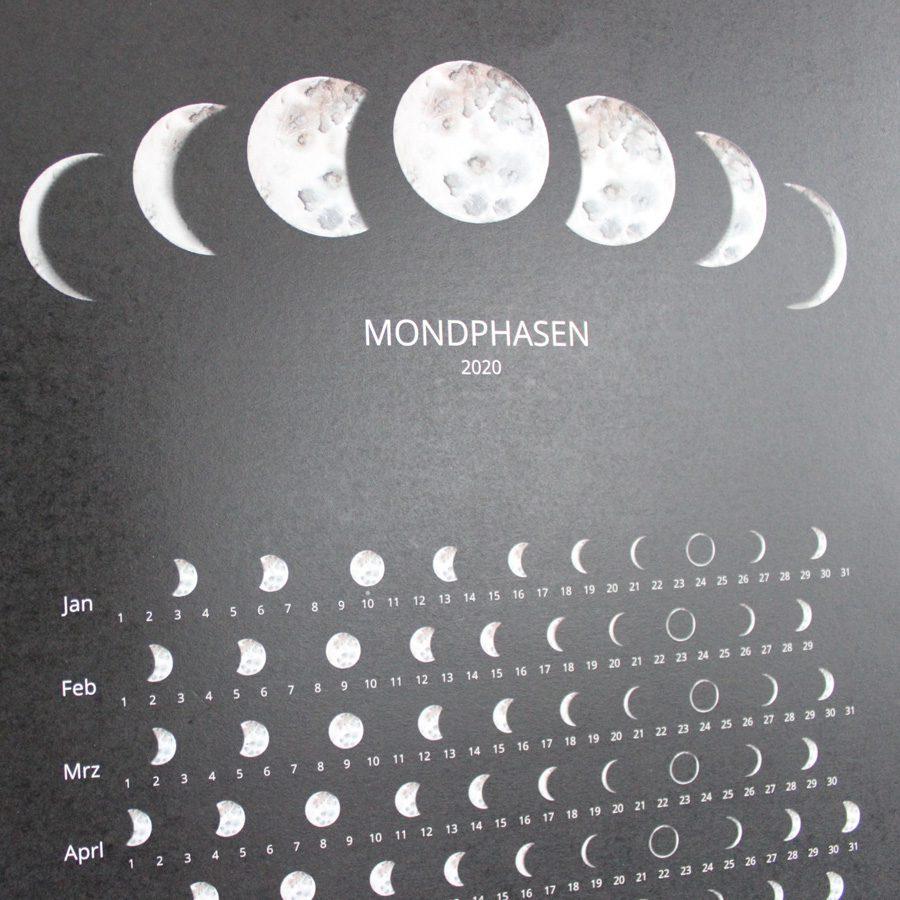 mondphasen kalender black 2020 print A3 umweltfreundlich