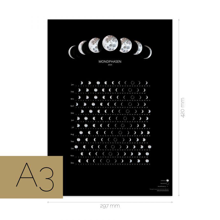 Mondkalender A2 2020 black