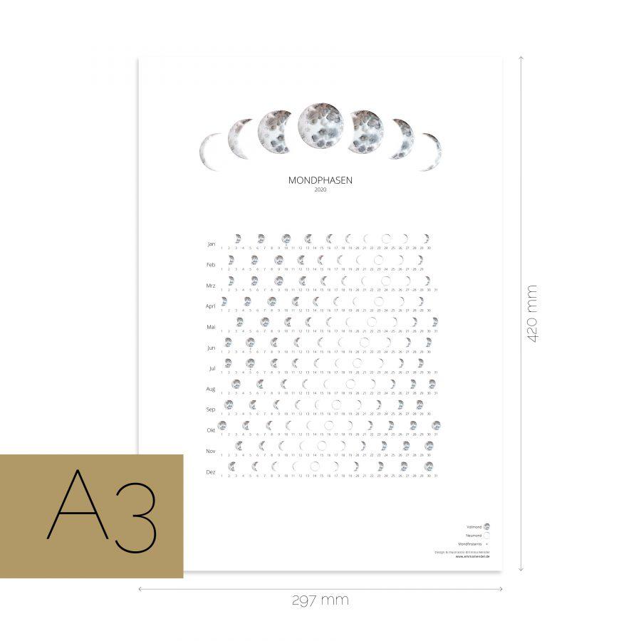 Mondkalender A3 2020 weiss